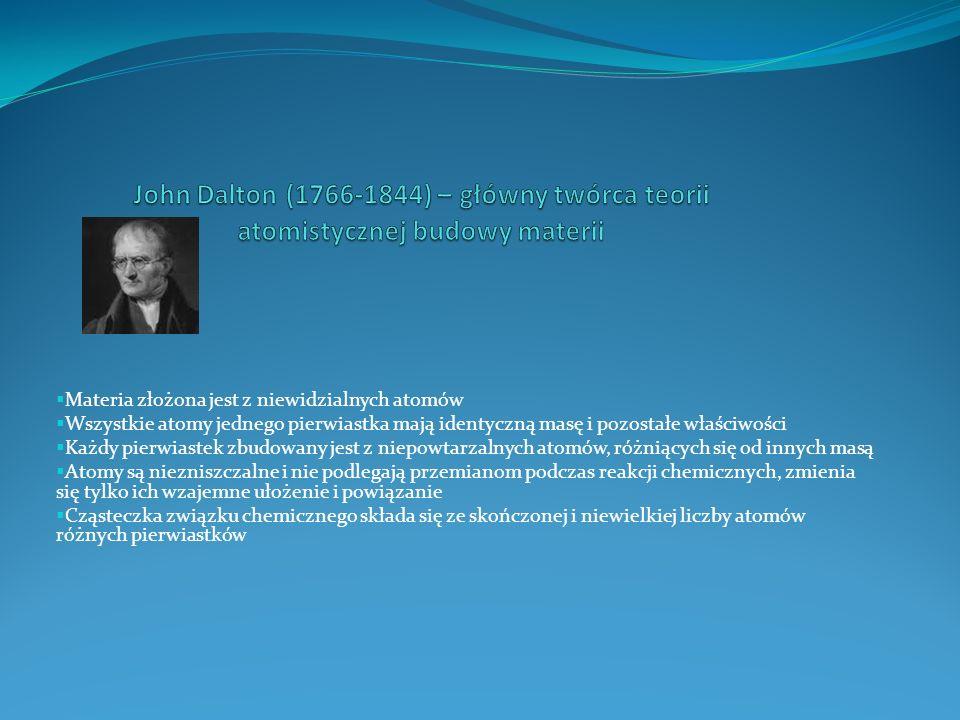 John Dalton (1766-1844) – główny twórca teorii atomistycznej budowy materii