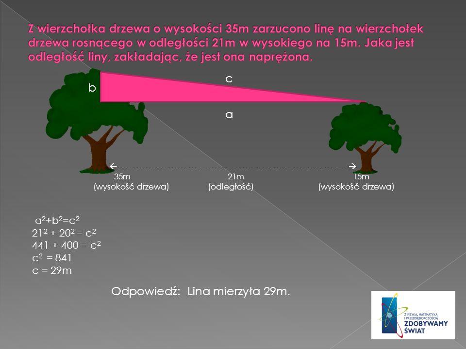 Z wierzchołka drzewa o wysokości 35m zarzucono linę na wierzchołek drzewa rosnącego w odległości 21m w wysokiego na 15m. Jaka jest odległość liny, zakładając, że jest ona naprężona.