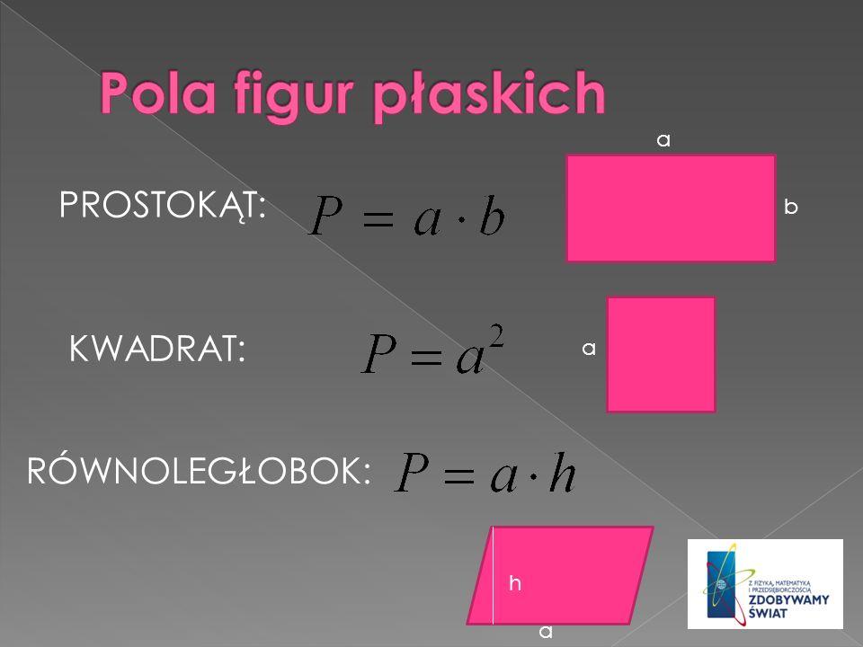 Pola figur płaskich a PROSTOKĄT: b KWADRAT: a RÓWNOLEGŁOBOK: h a