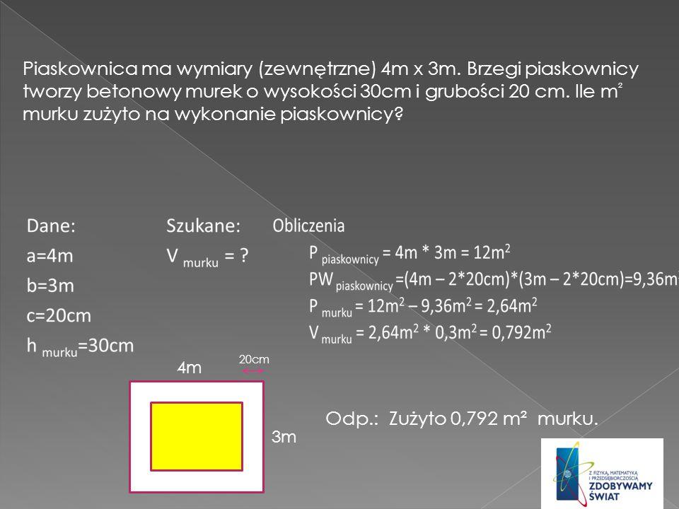 Piaskownica ma wymiary (zewnętrzne) 4m x 3m