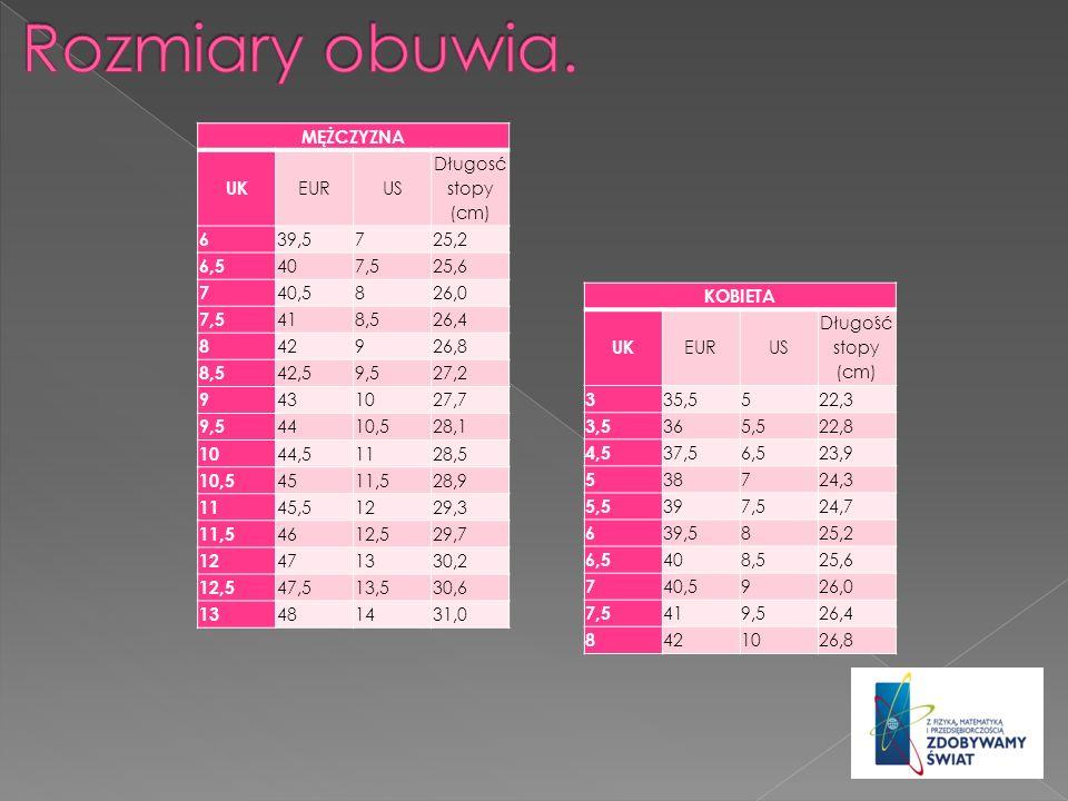 Rozmiary obuwia. MĘŻCZYZNA UK EUR US Długosć stopy (cm) 6 39,5 7 25,2