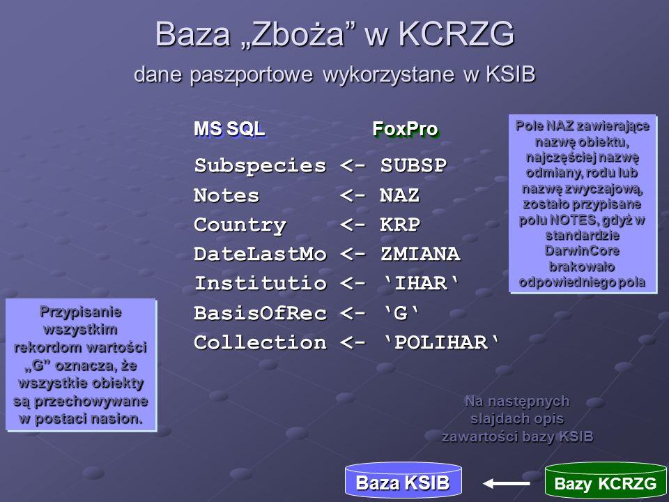 """Baza """"Zboża w KCRZG dane paszportowe wykorzystane w KSIB"""