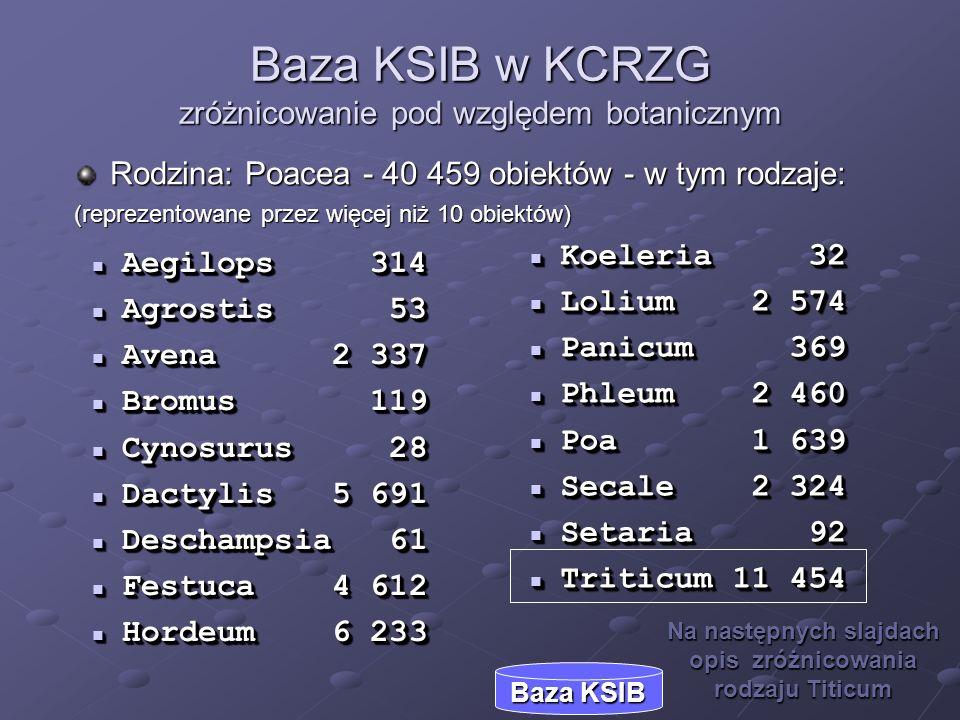 Baza KSIB w KCRZG zróżnicowanie pod względem botanicznym
