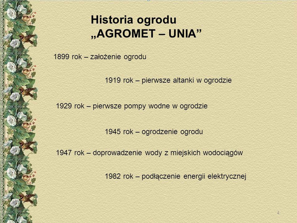 """Historia ogrodu """"AGROMET – UNIA 1899 rok – założenie ogrodu"""