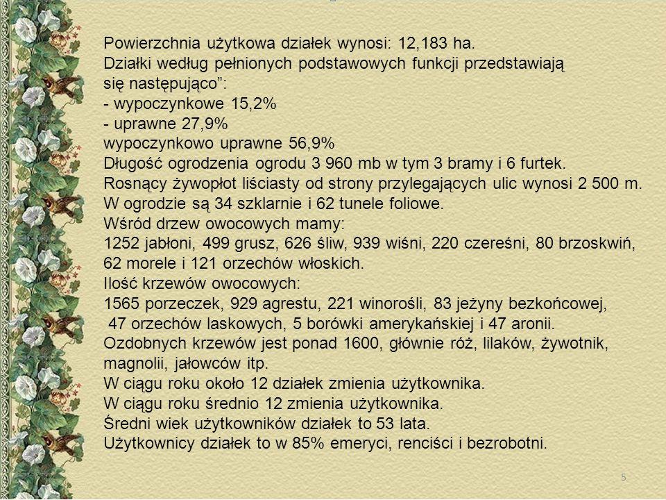 Powierzchnia użytkowa działek wynosi: 12,183 ha.