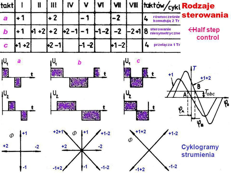 Rodzaje sterowania Half step control Cyklogramy strumienia