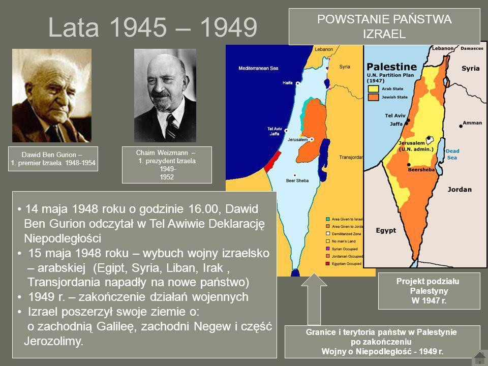 Lata 1945 – 1949 POWSTANIE PAŃSTWA IZRAEL