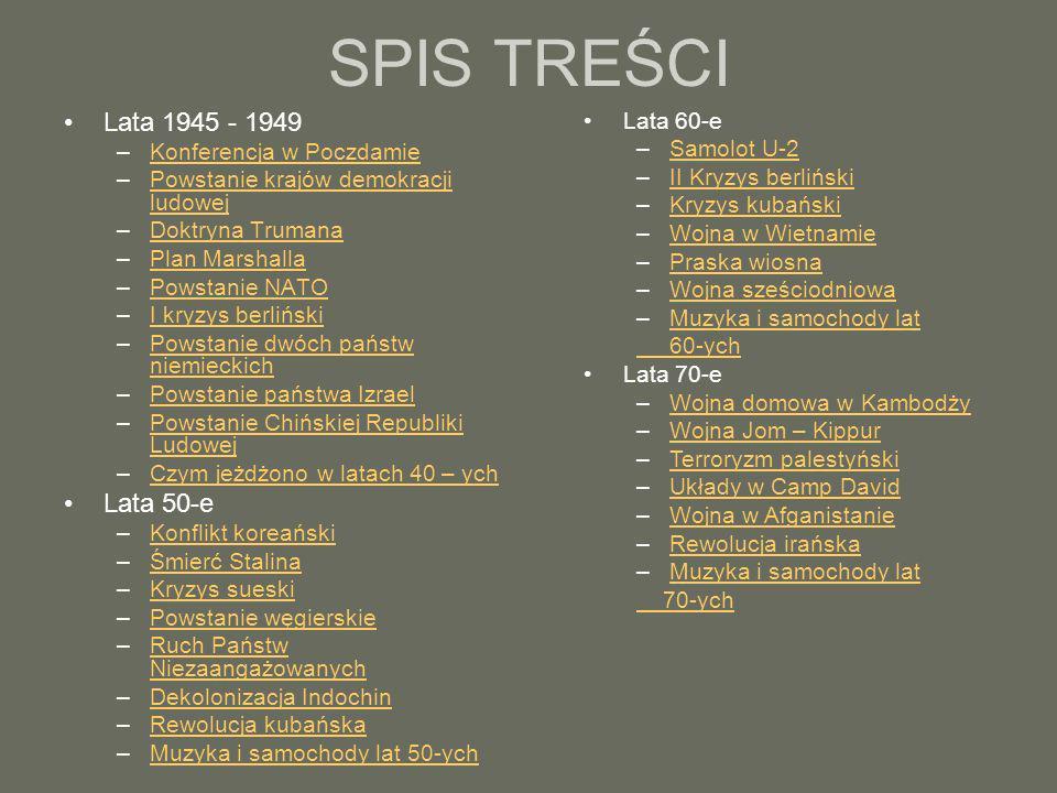 SPIS TREŚCI Lata 1945 - 1949 Lata 50-e Lata 60-e
