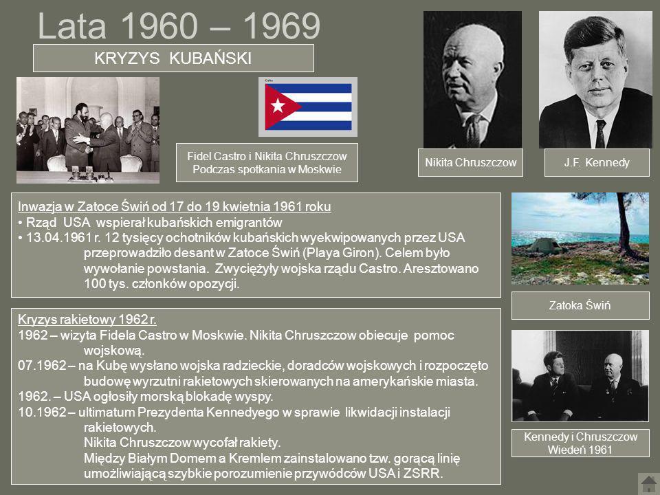 Lata 1960 – 1969 KRYZYS KUBAŃSKI. Fidel Castro i Nikita Chruszczow. Podczas spotkania w Moskwie.
