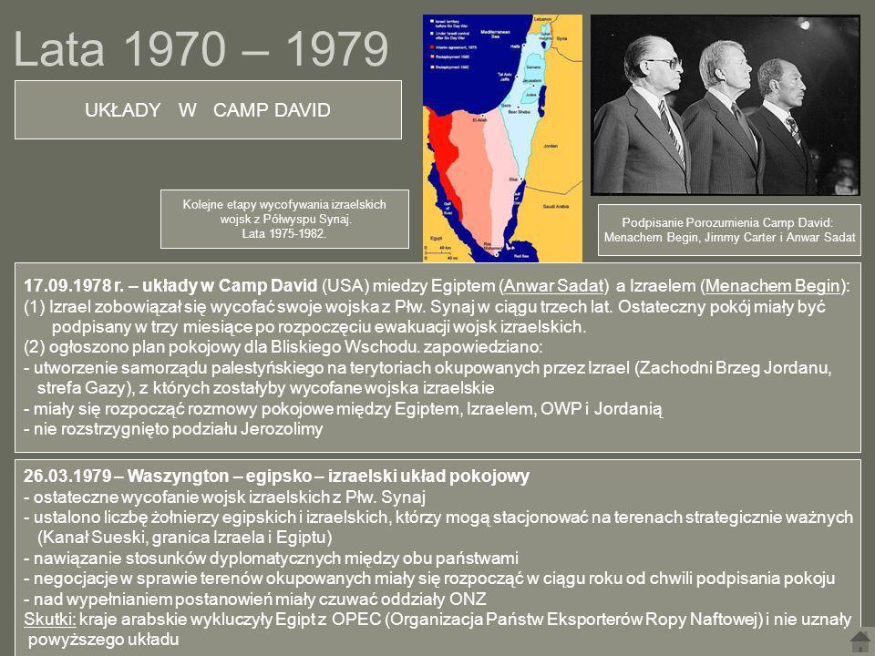 Lata 1970 – 1979 UKŁADY W CAMP DAVID