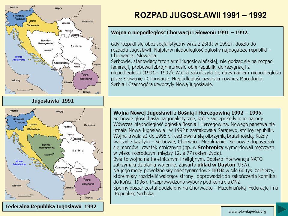 ROZPAD JUGOSŁAWII 1991 – 1992 Wojna o niepodległość Chorwacji i Słowenii 1991 – 1992.