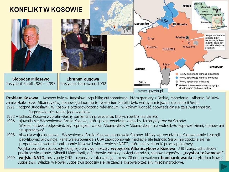KONFLIKT W KOSOWIE Slobodan Milosević Prezydent Serbii 1989 – 1997