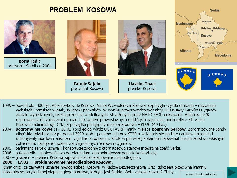 PROBLEM KOSOWA Boris Tadić prezydent Serbii od 2004 Fatmir Sejdiu