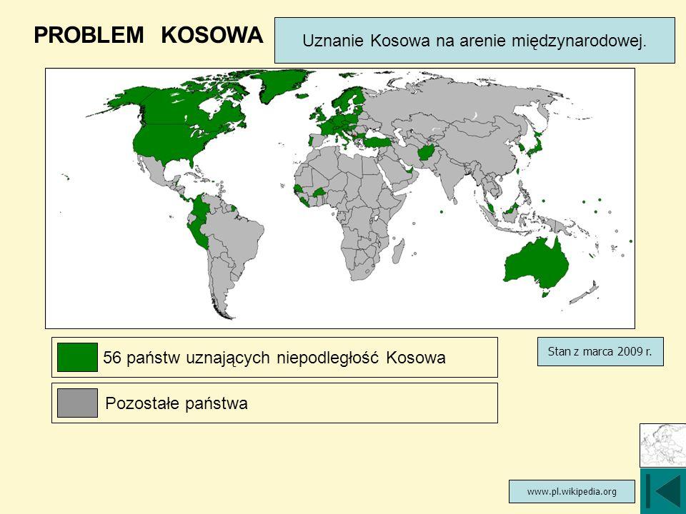 PROBLEM KOSOWA Uznanie Kosowa na arenie międzynarodowej.