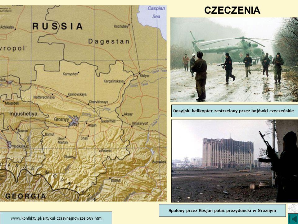 Spalony przez Rosjan pałac prezydencki w Groznym