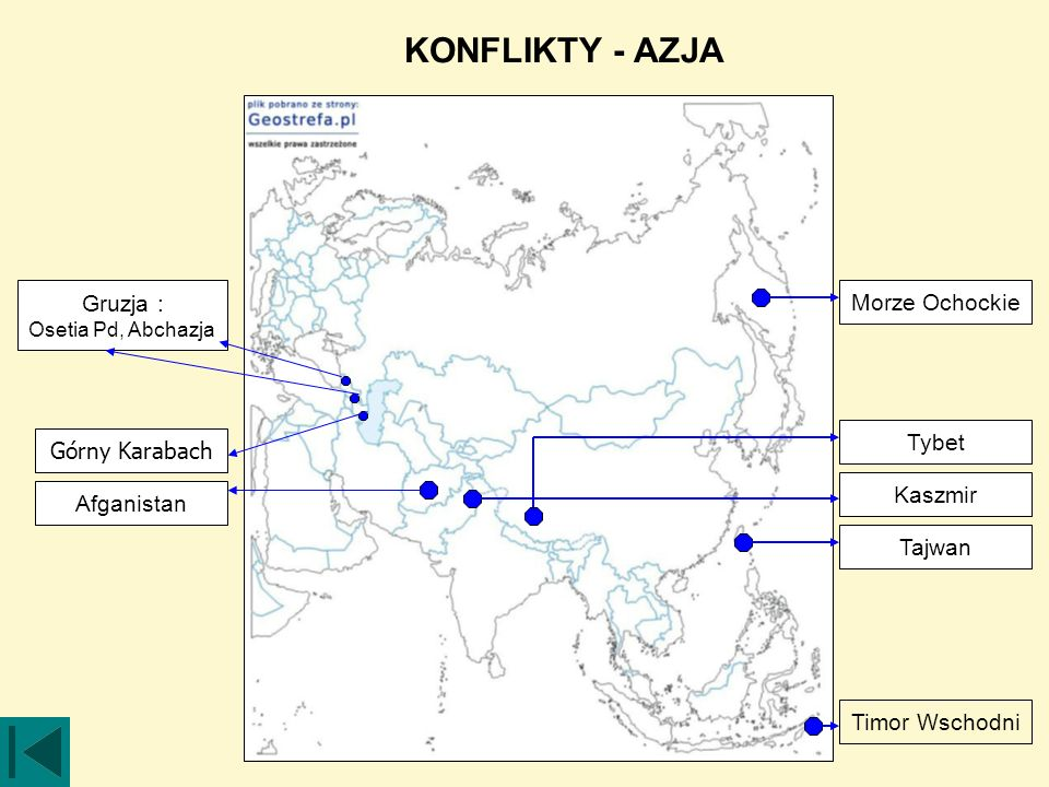 KONFLIKTY - AZJA Gruzja : Morze Ochockie Tybet Górny Karabach Kaszmir