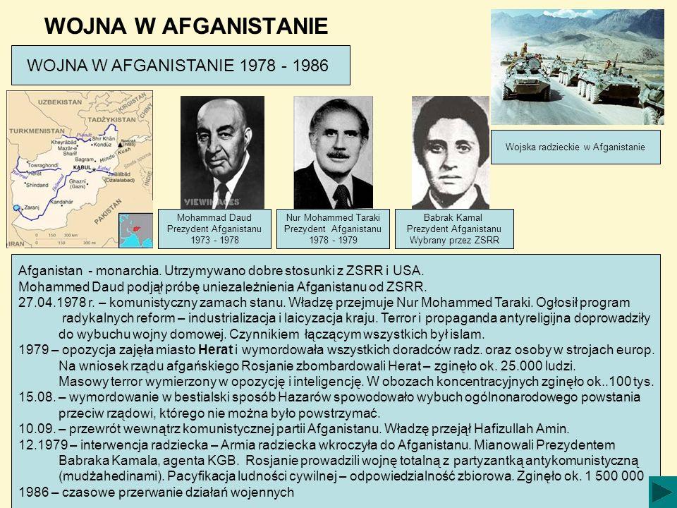 WOJNA W AFGANISTANIE WOJNA W AFGANISTANIE 1978 - 1986