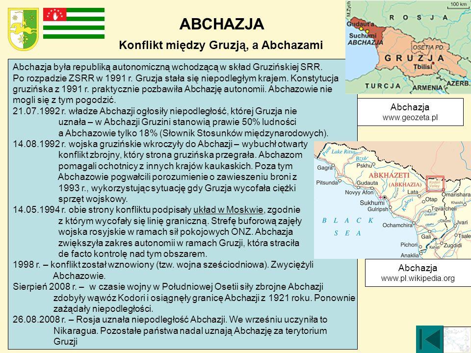 ABCHAZJA Konflikt między Gruzją, a Abchazami