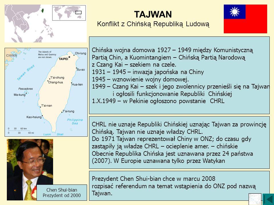 TAJWAN Konflikt z Chińską Republiką Ludową