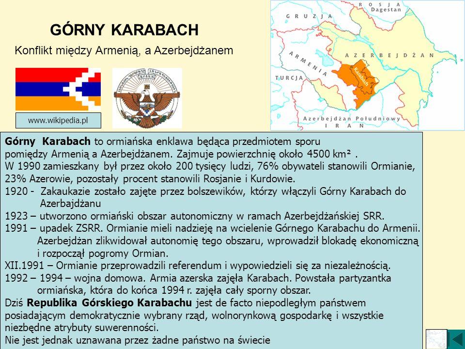 GÓRNY KARABACH Konflikt między Armenią, a Azerbejdżanem