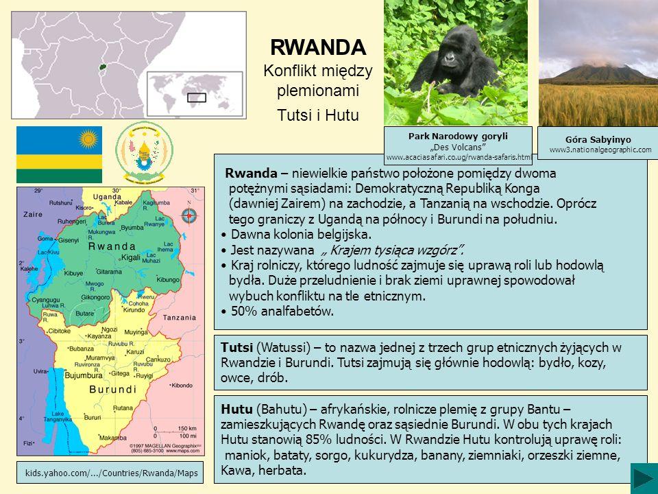 RWANDA Konflikt między plemionami Tutsi i Hutu