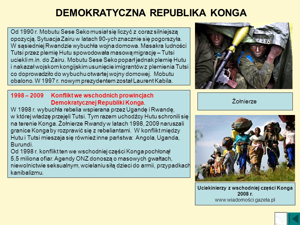 DEMOKRATYCZNA REPUBLIKA KONGA Uciekinierzy z wschodniej części Konga