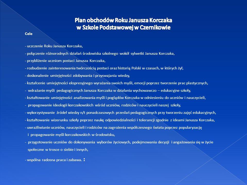 Plan obchodów Roku Janusza Korczaka w Szkole Podstawowej w Czernikowie