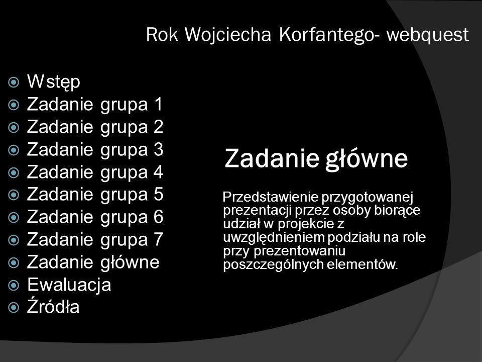 Zadanie główne Rok Wojciecha Korfantego- webquest Wstęp