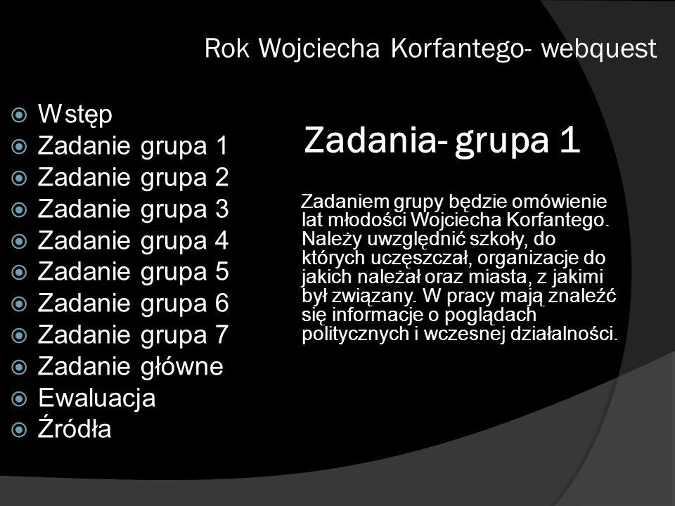 Zadania- grupa 1 Rok Wojciecha Korfantego- webquest Wstęp