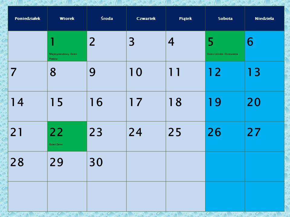 Poniedziałek Wtorek. Środa. Czwartek. Piątek. Sobota. Niedziela. 1. Międzynarodowy Dzień Ptaków.