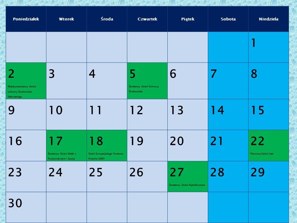 Poniedziałek Wtorek. Środa. Czwartek. Piątek. Sobota. Niedziela. 1. 2. Międzynarodowy Dzień ochrony Środowiska Naturalnego.