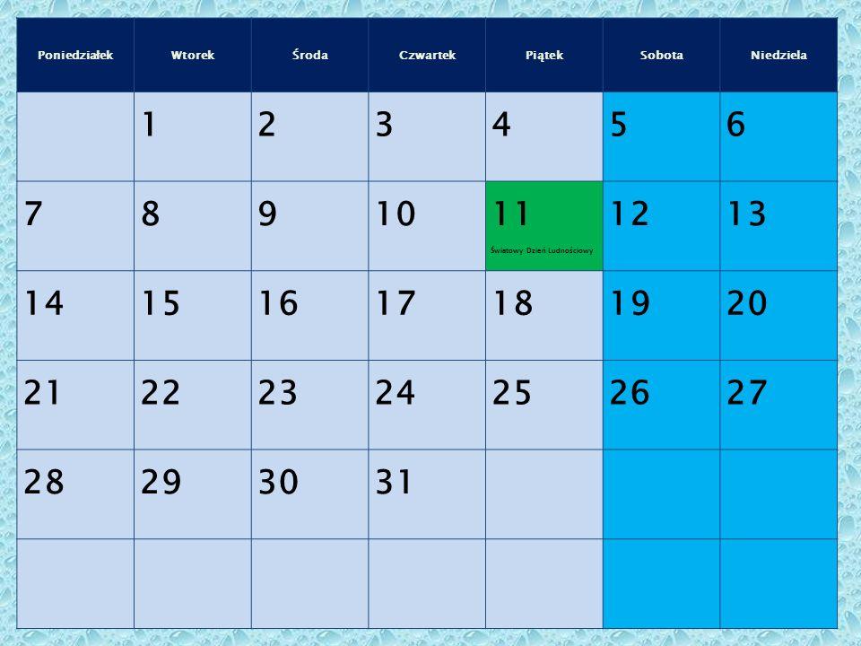 Poniedziałek Wtorek. Środa. Czwartek. Piątek. Sobota. Niedziela. 1. 2. 3. 4. 5. 6. 7. 8.