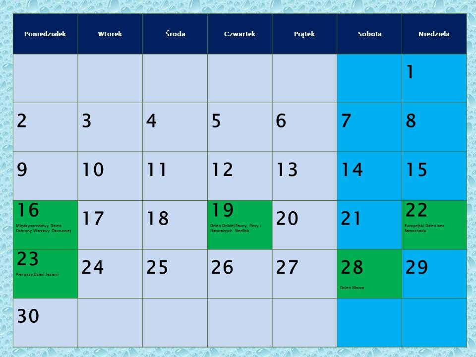 16 Międzynarodowy Dzień Ochrony Warstwy Ozonowej 17 18 19 20 21 22 23