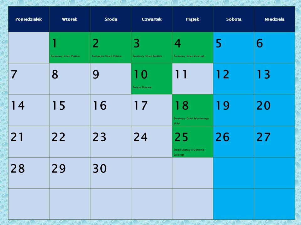 Poniedziałek Wtorek. Środa. Czwartek. Piątek. Sobota. Niedziela. 1. Światowy Dzień Ptaków. 2.