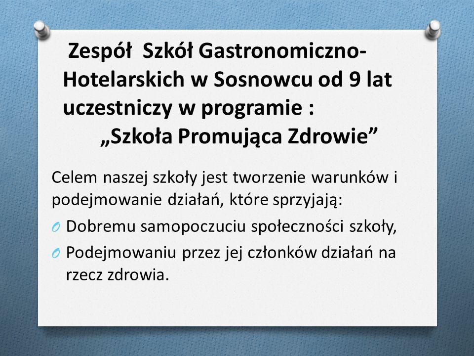 """Zespół Szkół Gastronomiczno- Hotelarskich w Sosnowcu od 9 lat uczestniczy w programie : """"Szkoła Promująca Zdrowie"""