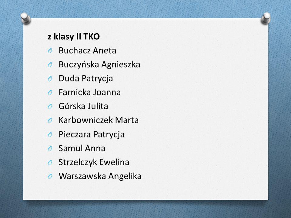 z klasy II TKO Buchacz Aneta. Buczyńska Agnieszka. Duda Patrycja. Farnicka Joanna. Górska Julita.