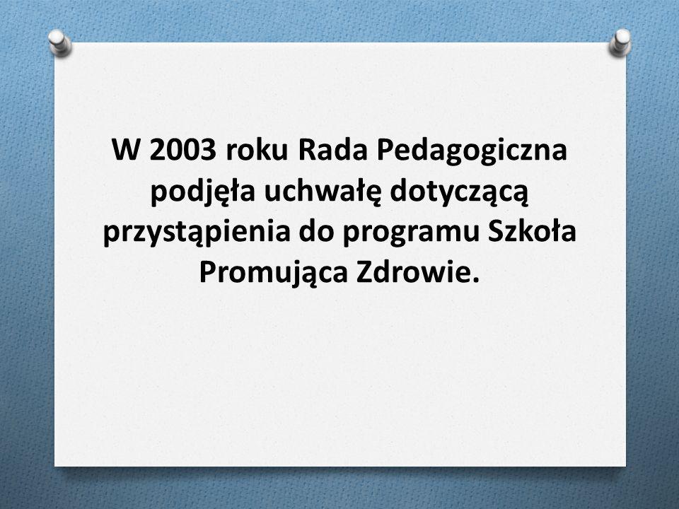 W 2003 roku Rada Pedagogiczna podjęła uchwałę dotyczącą przystąpienia do programu Szkoła Promująca Zdrowie.