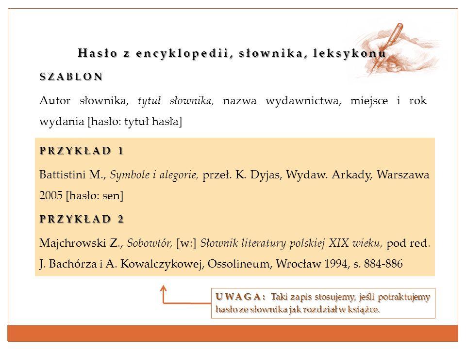 Hasło z encyklopedii, słownika, leksykonu