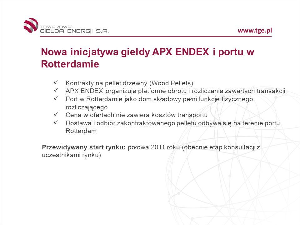 Nowa inicjatywa giełdy APX ENDEX i portu w Rotterdamie