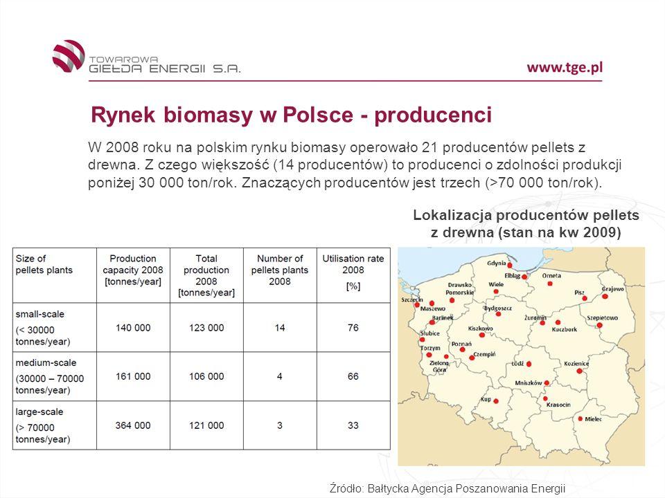 Lokalizacja producentów pellets z drewna (stan na kw 2009)