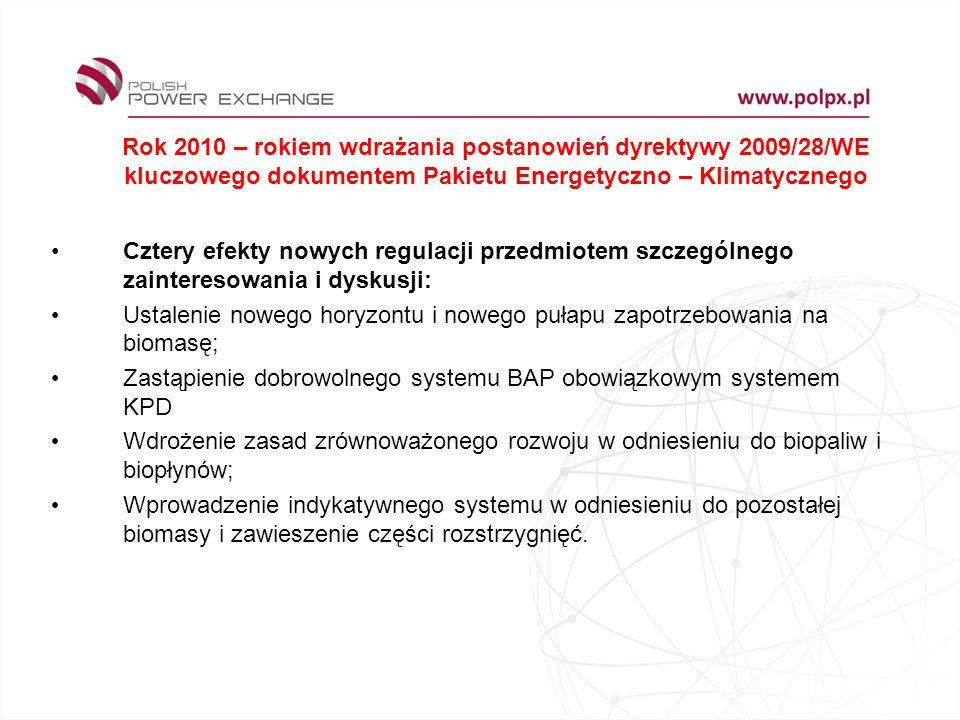 Rok 2010 – rokiem wdrażania postanowień dyrektywy 2009/28/WE kluczowego dokumentem Pakietu Energetyczno – Klimatycznego