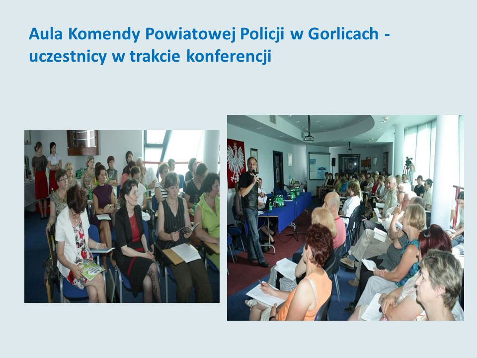 Aula Komendy Powiatowej Policji w Gorlicach - uczestnicy w trakcie konferencji