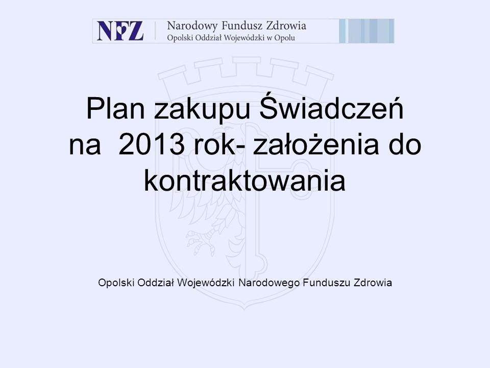 Plan zakupu Świadczeń na 2013 rok- założenia do kontraktowania