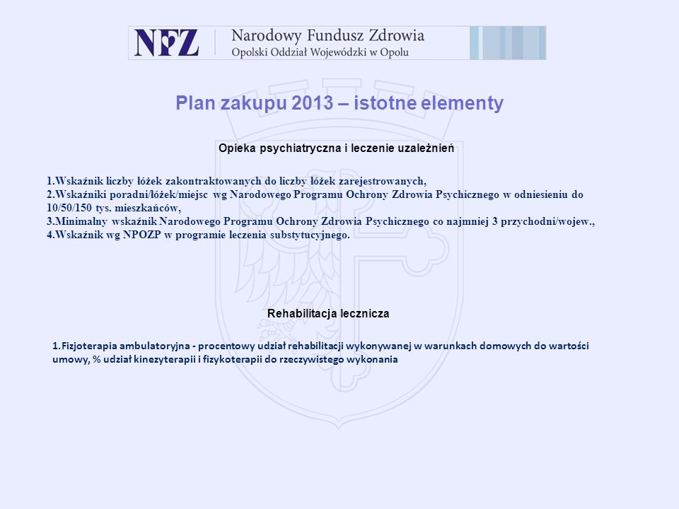 Plan zakupu 2013 – istotne elementy