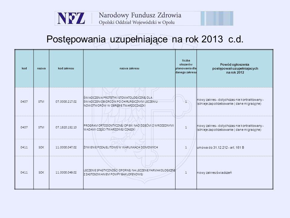 Postępowania uzupełniające na rok 2013 c.d.