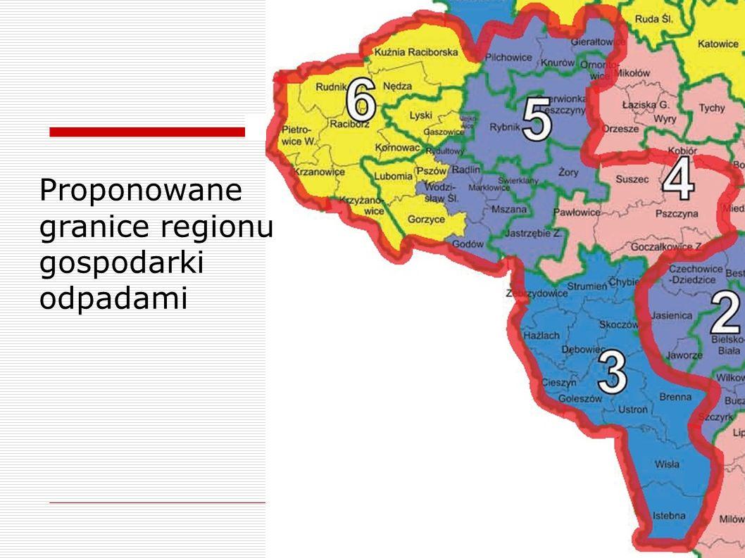 Proponowane granice regionu gospodarki odpadami