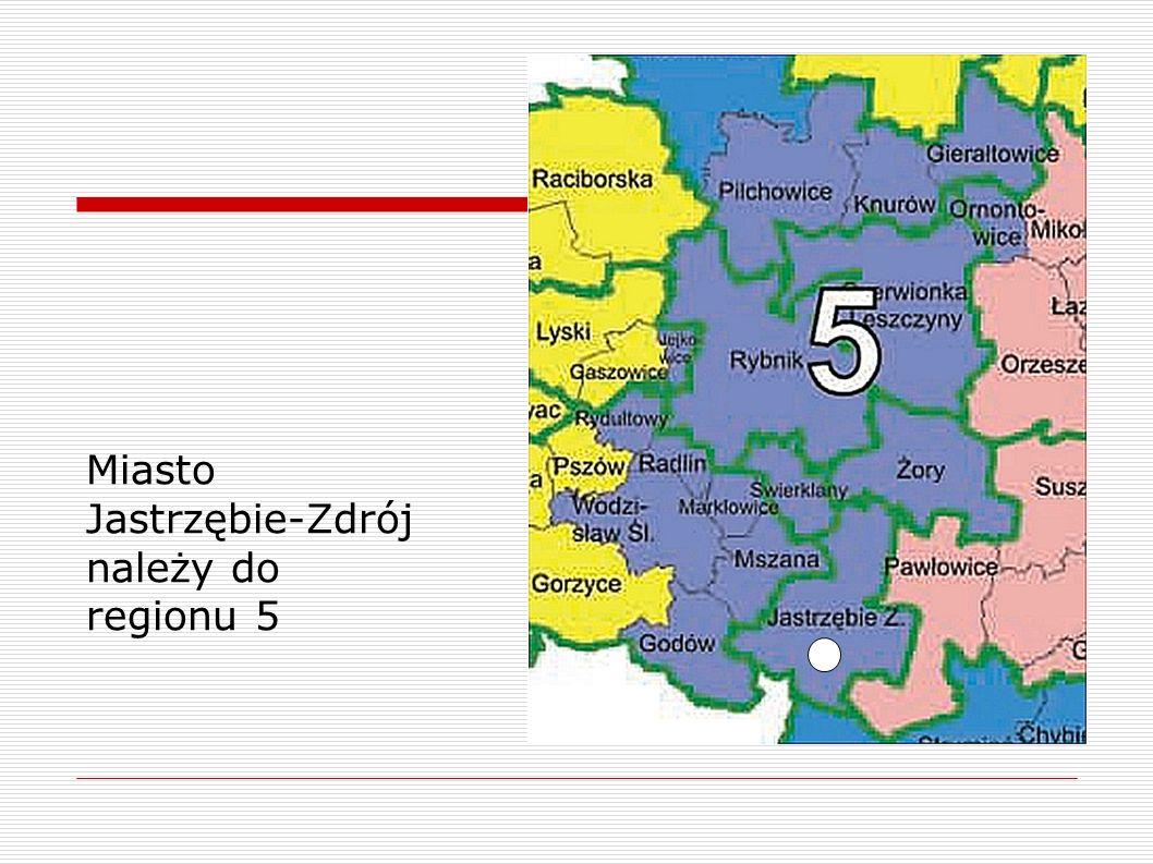 Miasto Jastrzębie-Zdrój należy do regionu 5