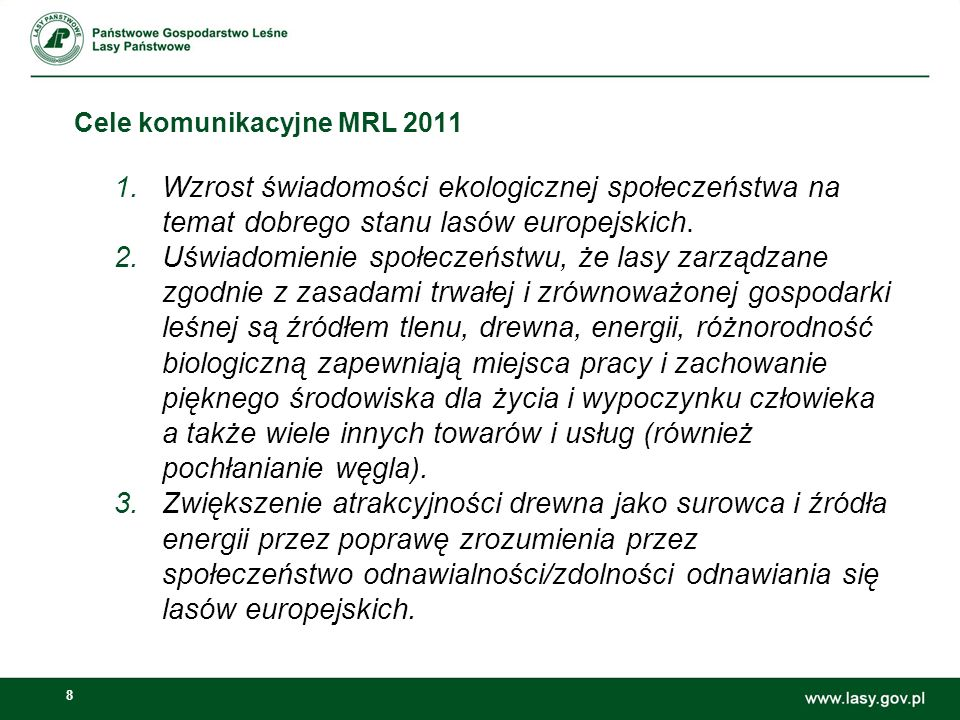 Cele komunikacyjne MRL 2011