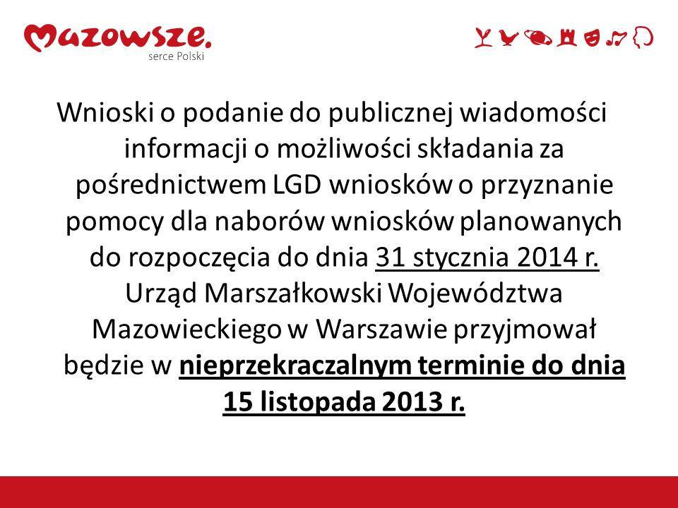 Wnioski o podanie do publicznej wiadomości informacji o możliwości składania za pośrednictwem LGD wniosków o przyznanie pomocy dla naborów wniosków planowanych do rozpoczęcia do dnia 31 stycznia 2014 r.