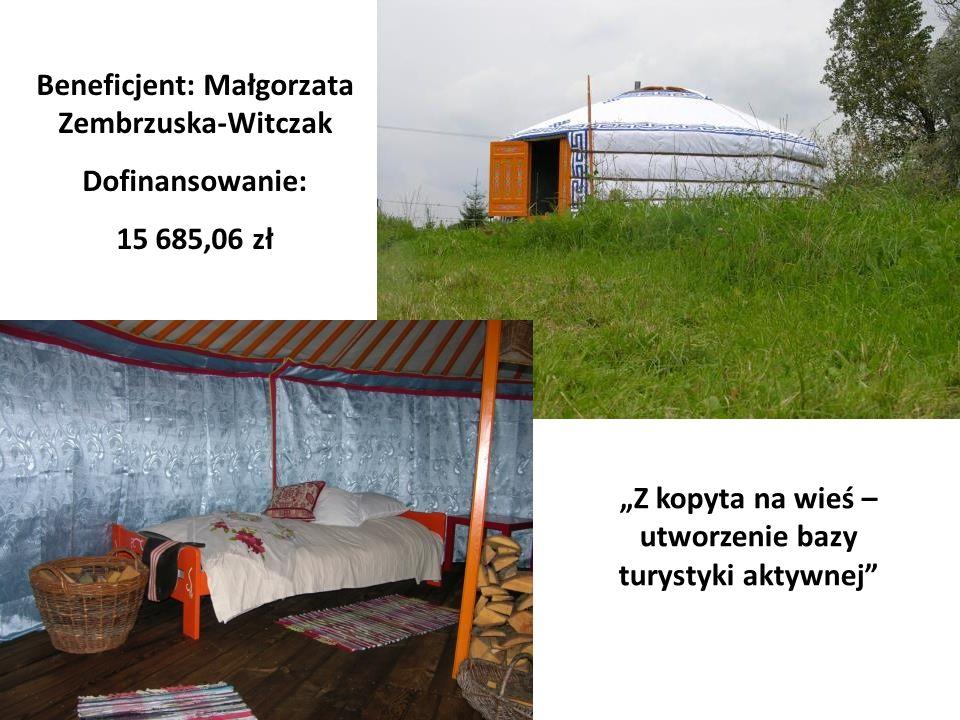 Beneficjent: Małgorzata Zembrzuska-Witczak Dofinansowanie: